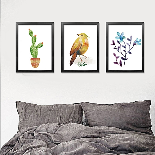 Qukau 3pcs 40 60cm Wall Painting Picture Mural Sofa Background Wall Hanging Painting Fresh Nordic Trilogy Modern Simple Dining Room Bedroom Decorative