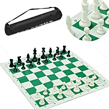 S: 34.5 x 34.5cm Tournament Chess portable travelling  Pieces and Roll Board