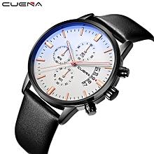 New CUENA Fashion Men Casual Checkers Faux Leather Quartz Analog Wrist Watch-Black