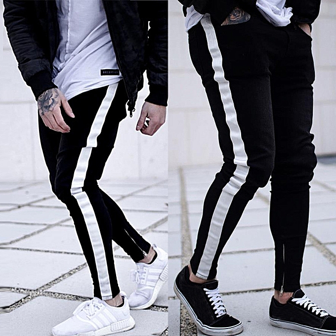 946ba60dba jiuhap store Men Casual Trouser Biker Ripped Skinny Jeans Frayed Slim Fit  Denim Pants-Black