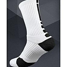 Professional Basketball Elite Socks Outdoor Sports Sock For Men - White & Black