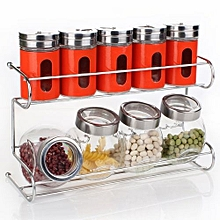 10 Pcs/set Seasoning Box Condiment Food Container Kitchen Storage Jar -Red