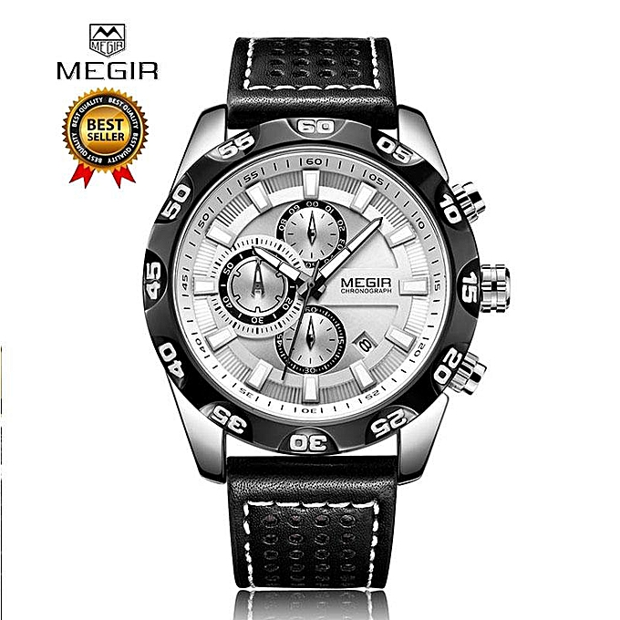 282b10989 Megir Leather Strap Sports Watches Men Chronograph Quartz Waterproof 3 Bar  Military Wrist Watch Man Relogios