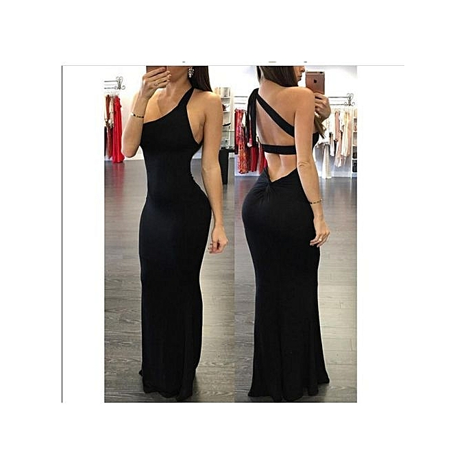 c7121fa134cf Refined Women s Sexy Dress One-piece Dress Solid Longuette Beautiful  Shoulder The Neck With A