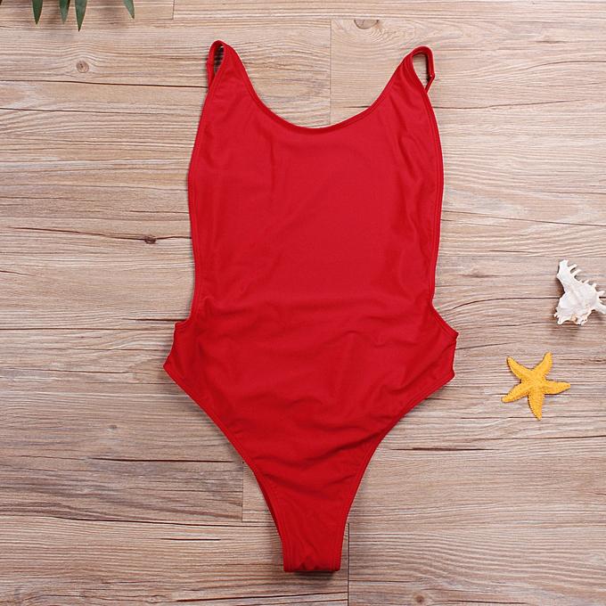 f0b222894c669 Women One Piece Swimsuit Cut Out Open Back Solid Padded Swimwear Monokini Bathing  Suit Beachwear