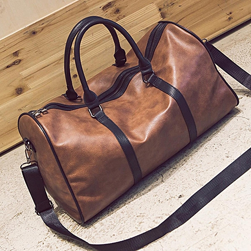 Women Men Leather Outdoor Large Gym Duffel Bag Travel Weekend Overnight  Luggage  brown 82c8fc65cf58d