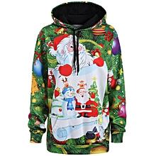 Plus Size Santa Claus Christmas Drawstring Hoodie - Green