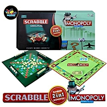 2-in-1 Monopoly & Scrabble Set Classic Board Game Educational Learning Toy