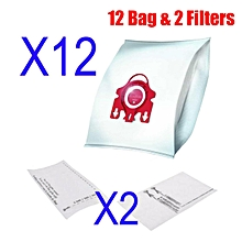 2X VACUUM CLEANER BAGs For MIELE FJM Red 3D COMPACT C1 C2 S4 S6 S290 S381 S6210