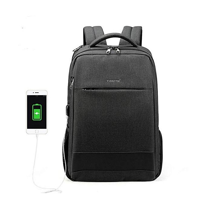 83afb0263 Hot sale Men's Fashion Travel Backpacks Anti theft USB Charging 15.6 Laptop  Bag Waterproof grey