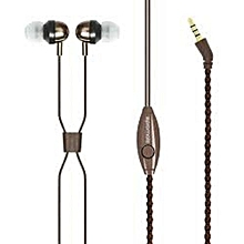 RETRO- Fabric-Covered Headset (Bracelet Style) With Inline Mic -Brown