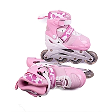 Adjustable Roller Skates Combo Set Purple and Pink