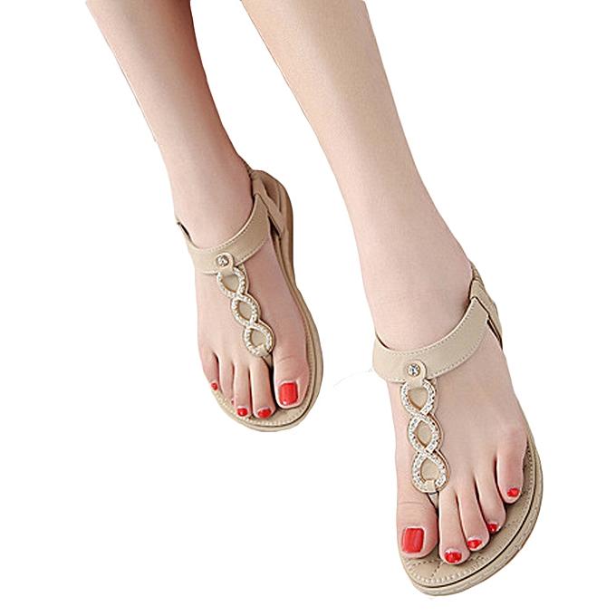 fb4c6ce52164 huskspo Fashion Women Bohemia Girls Metal Buckle Rhinestone Flat Sandals  Outdoor Shoes