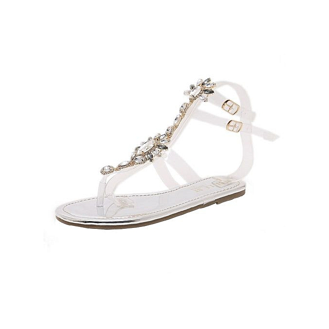 Xingbiaocao Woman Sandals Rhinestones Chains T-strap Comfortable Flat  Crystal Sandals -Silver