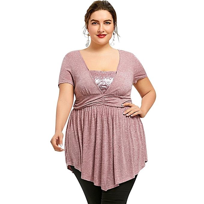 6e587e244f7b86 Fashion Plus Size Sequined Trim Empire Waist T-shirt - LIGHT PINK ...