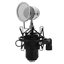 LEIHAO BM - 8000 Professional Sound Studio Recording Condenser Microphone with 3.5mm Plug Stand Holder BLACK