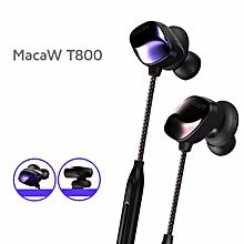 Macaw T800 Sport Stereo Anti sweat In ear Wired Control Wireless Bluetooth Headphone Earphone