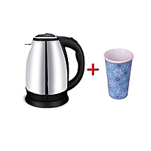 Electric Kettle Automatic - 2Litres - Silver-black,Get One Free Mug Cup