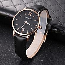 CAGARNY 6879 Fashion Quartz Wrist Watch with Leather Band (Black+ Black)