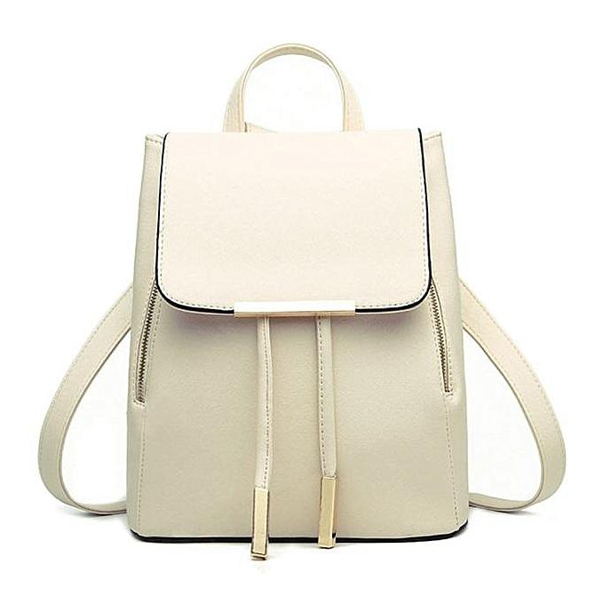 5a786e9624c Hiamok Women Leather Backpacks Schoolbags Travel Shoulder Bag Mochila  Feminina Beige