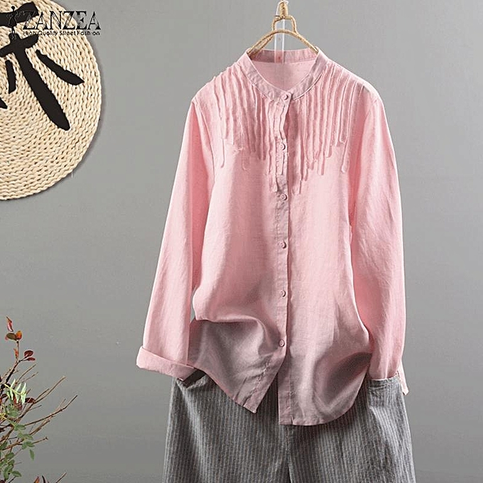 d628feb2ec8 ZANZEA Women Long Sleeve Plus Size Top Blouse Basic Office Work OL Button  Down Shirt