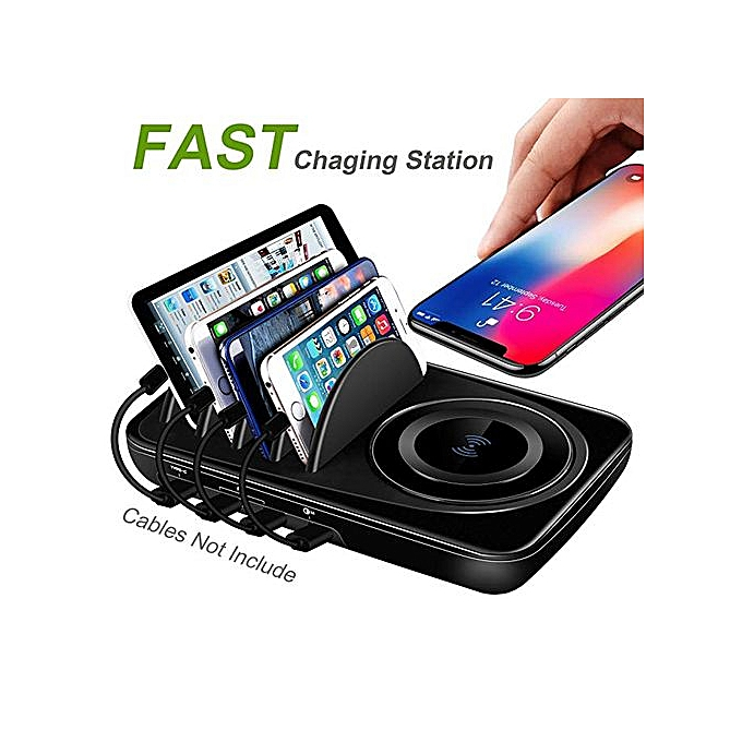 USB Charging Station Dock Quick Charge 3 0 Type-C for Multiple Devices iPad  Desktop Charging Stand Organizer Multi Smart Hub Fast Wireless Charger for