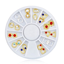 bluerdream-New Gold Silver Pleated Colorful Rhinestone Wheel Alloy Jewelry Nail Beauty Art-Multicolor