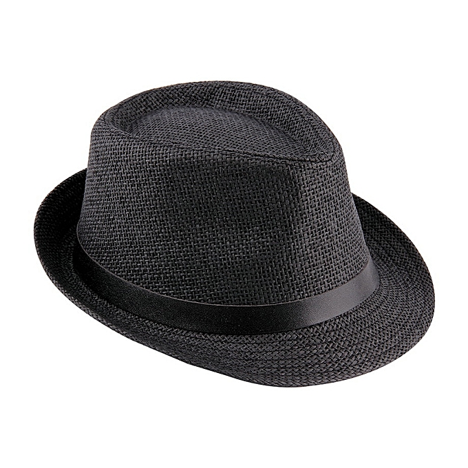 f219cdf09d679 Stylish Hat Summer Straw Hat Cap Topee Fedora Trilby Panama Hat Cap Jazz Hat -black