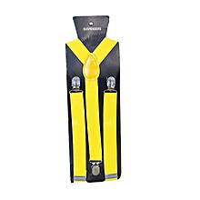 Yellow Daffodil Men's Adjustable Suspenders With Silver Clip