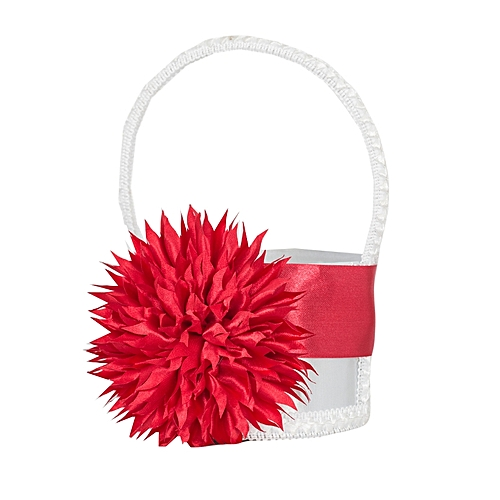 Buy generic red flower white satin girl baskets for petals wedding red flower white satin girl baskets for petals wedding accessories photography props bridal favors mightylinksfo