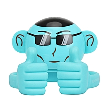 APE: Blue Bluetooth Speaker, Portable Monkey Shape Multifunction Wireless Speaker with 3.5mm Audio Jack and Thumbs-up Adjustable Flexible Smartphone Holder for Tablets, Cell Phones