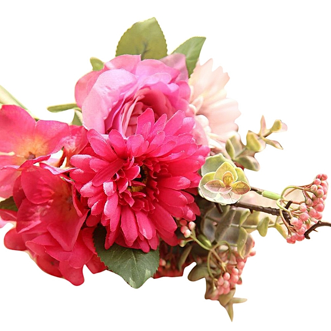 Buy neworldline artificial fake flowers rose bouquet floral wedding artificial fake flowers rose bouquet floral wedding bouquet party home decor hot pink mightylinksfo