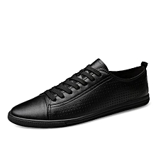 Summer Genuine Leather Sneakers For Men Skate Shoes (Black)
