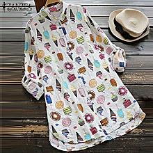 ZANZEA Women Plus Long Sleeve Baggy Printed Casual Autumn Ladies Tops Blouse Tunic