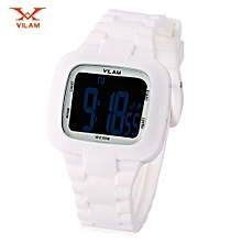 LED Digital Watch Alarm Date Day Chronograph 50m Water Resistance Sports Wristwatch-WHITE