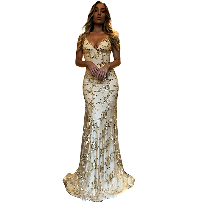b7dbccad8c ... New Sexy Women Sequined Maxi Dress Floor Length Sequins Backless  Bodycon V Neck Strappy Party Dress