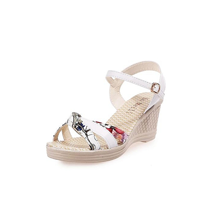 4121d6649 Jiahsyc Store Ladies Women Wedges Shoes Summer Sandals Platform Toe High-Heeled  Shoes-White