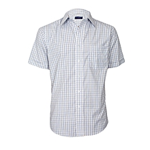 White, Blue & Black Ckecked Short Sleeved Shirt