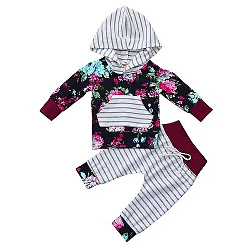 80e5504a4 Eissely Newborn Infant Baby Boy Girl Floral Print Hoodie Tops+Pants ...
