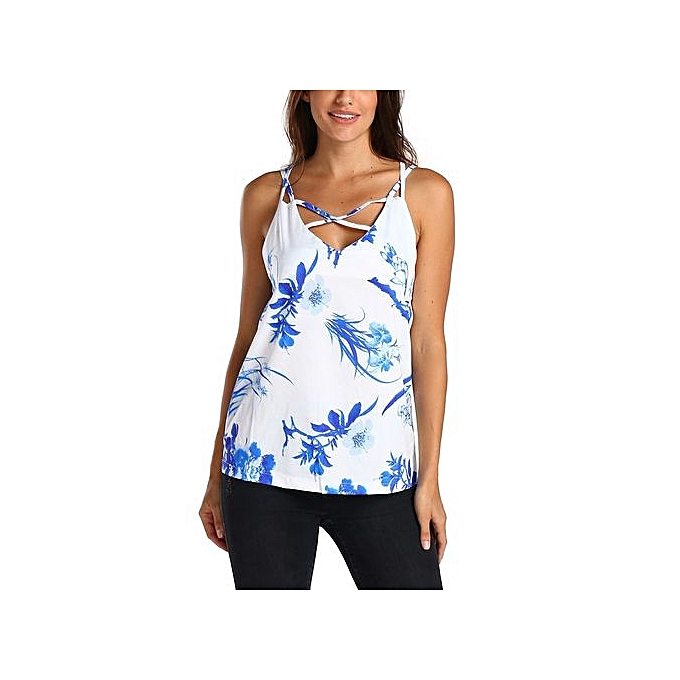 Generic Women Floral Printing T-Shirt Sleeveless Vest Tank Tunic ...
