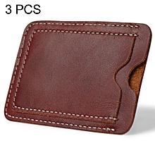 3 PCS XIAO YUAN XIANG Genuine Leather License Sleeve Pocket Wallet Coin Purse Credit Card Holder, Size: 10.2cm x 7.6cm, Random Color Delivery