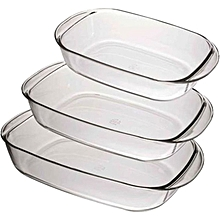 Duralex Oven Chef Glass Rectangular Baking Dishes/Roasters Set of 3