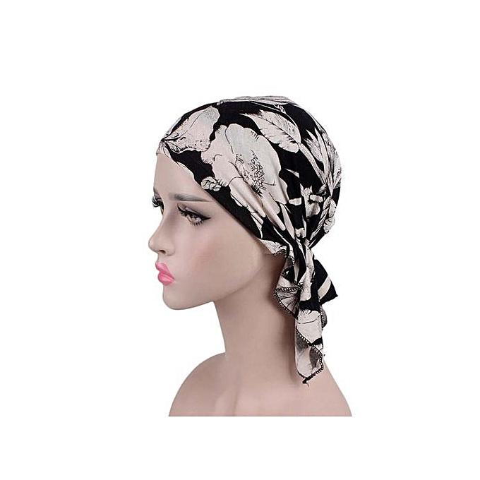 Zetenis Women India Muslim Elastic Turban Print Cotton Hat Head Scarf  Wrap-Multicolor 90f93f1b643
