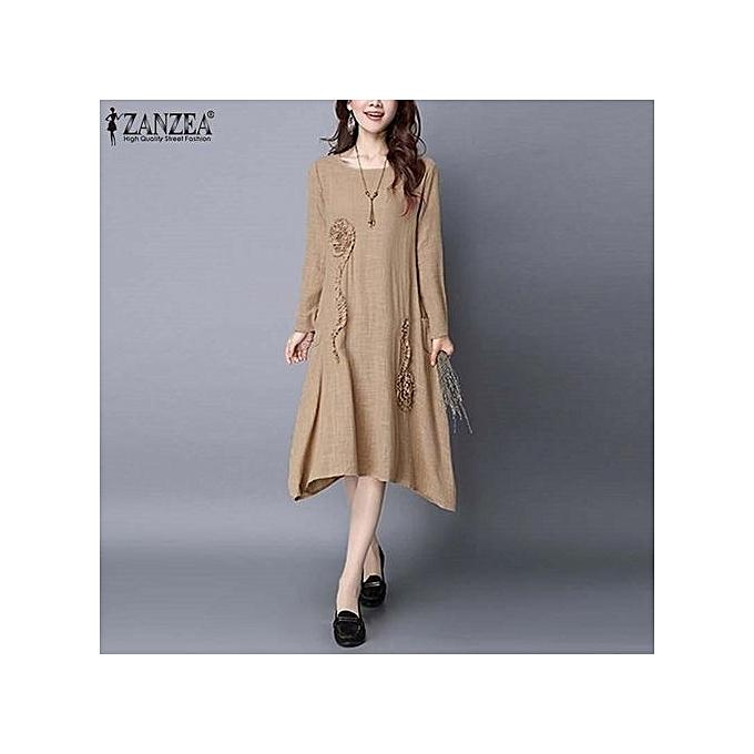 fddc936c560c ZANZEA Women Elegant Style Brief Plain Dresses Spring Casual Loose Dress  Robe Long Sleeve Irregular Long