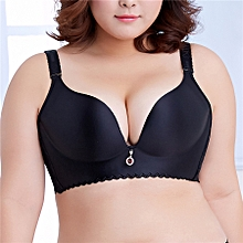 Women's Plus Size Adjustable Push Up Thin Cup Bras (Black)