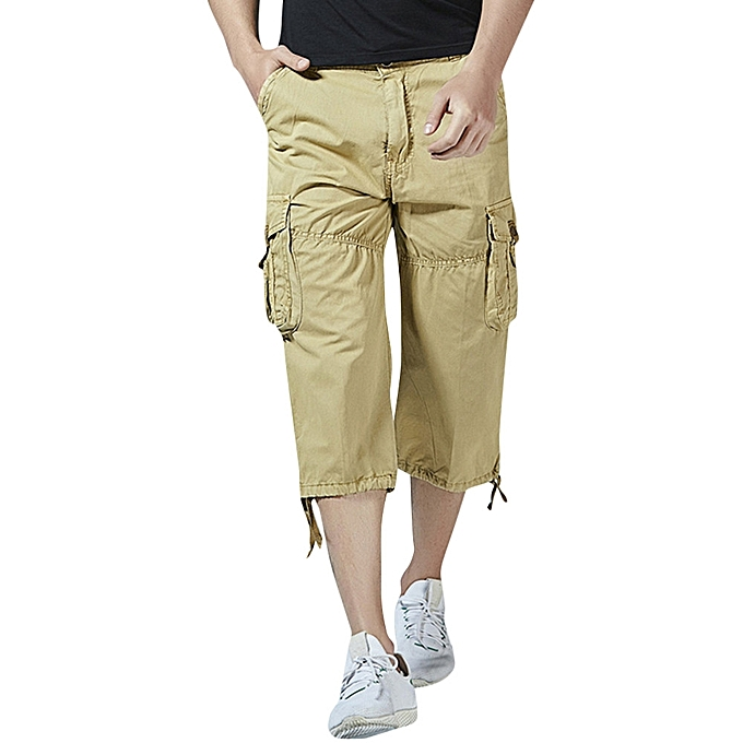 0781ae598 jiuhap store Men's Casual Pure Color Outdoors Pocket Beach Work Trouser  Cargo Shorts Pant-Khaki
