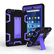 For Amazon Kindle Fire 7 Dual Layer Hybrid Armor Protective Stand Cover Case-Purple