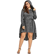 Plus Size Cutwork Hooded Dip Hem Dress - HEATHER GRAY