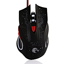 HXSJ H700 5500DPI Professional USB Wired Optical 6 Buttons Gaming Mouse With Backlight-BLACK