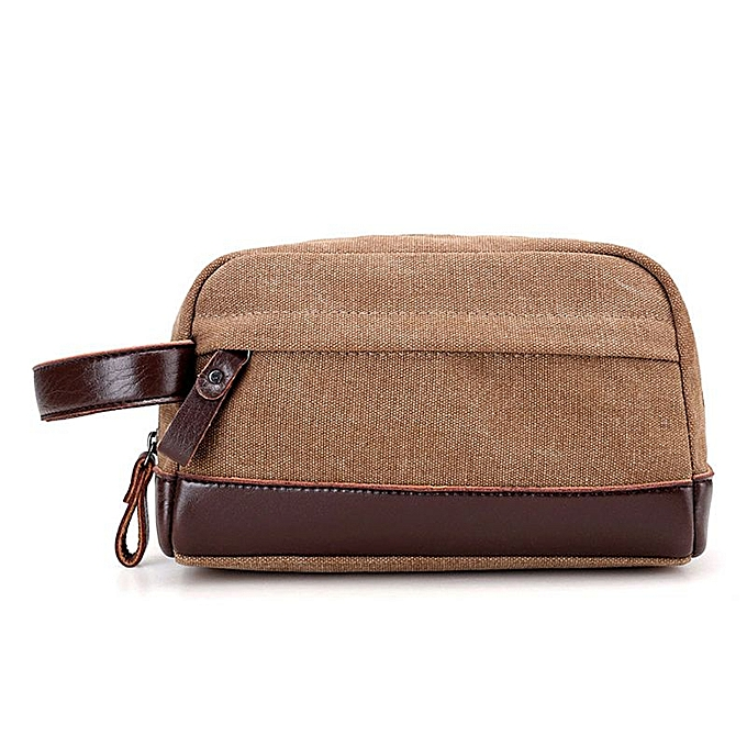 bcbf67bfeaf3 High Quality Zipper Men Travel Canvas Toiletry Bag Wash Shower Makeup  Organizer Portable Case Pouch Faux Leather(Brown)